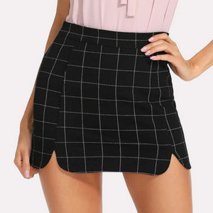Split Side Zipper Back Plaid Skirt - Size S/M